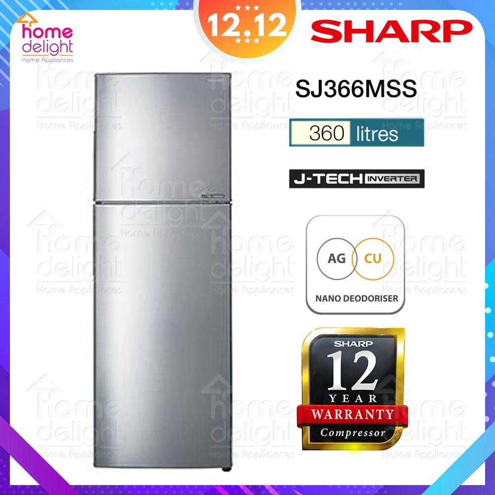 Sharp SJ366MSS 2 Door Fridge Inverter 360L (Silver)