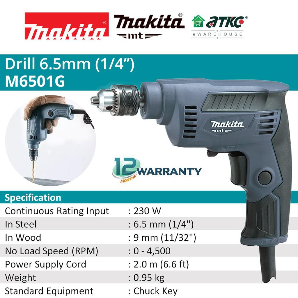 """MAKITA M6501G High Speed Drill 1/4"""" 230W"""