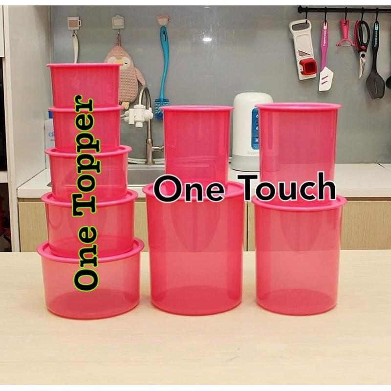 Tupperware One Touch Topper Medium 1.4L pink Bekas Susu