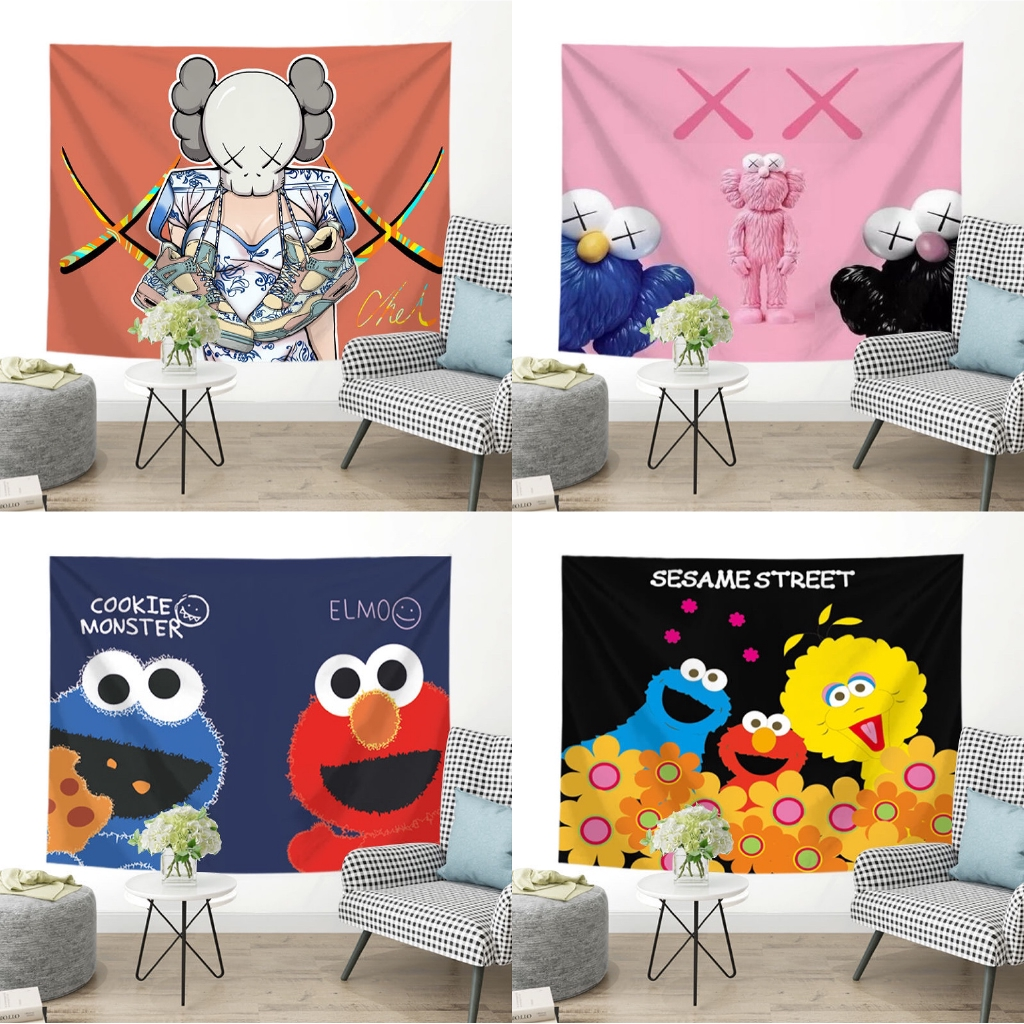 Image of: Trend Wall Tapestry Elmo Wall Hanging Tapestry Home Decor Living Room Bedroom Wall Tapestry Sesame Street Bedding Tapestry Shopee Malaysia