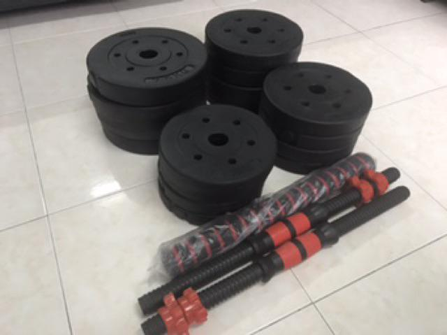 30KG Bumper Plate Dumbbell Barbell Combo With 40cm