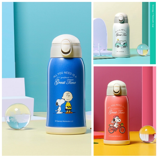 Kettle Cup Drinking Cup 500ml Snoopy 316 Three Cover Kids Cup Thermos Vacuum Flask Tumbler Botol Air Bottle Water