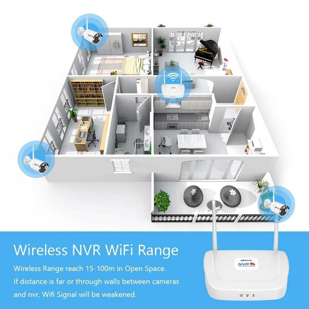 Wireless Home Security Camera System 4 Channel 1080P Surveillance NVR with 4pcs Waterproof 2MP Wireless Security Camera