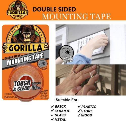 """Gorilla Double Sided Mounting Tape Tough & Clear 1'' x 60"""""""