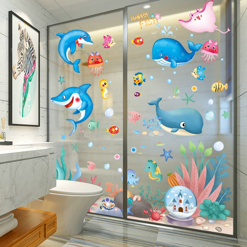 Cartoon Smile Toilet Stickers Wallpapers All-match Style Art Waterproof Bathroom
