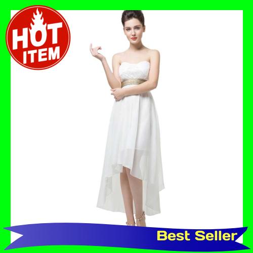 New Fashion Women Dress Lace Bandeau Top Belt Off Shoulder Open Back Irregular Hem Sexy Part Dress (White)