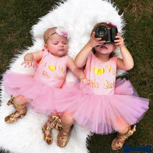 069e6daa28ca H-C☆Little Sister Romper Big Sister Dress Baby Girl Matching Lace Tulle Tutu