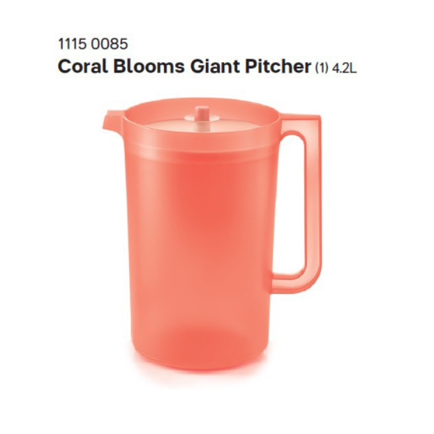Tupperware Coral Blooms Giant Pitcher 4.2L