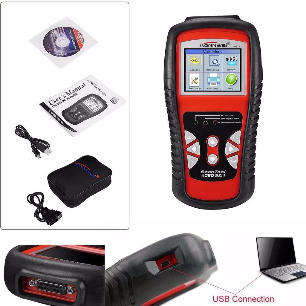 KW830 TFT OBD2 EOBD Car Scanner Diagnostic Tool Live Data Fault Code Reader