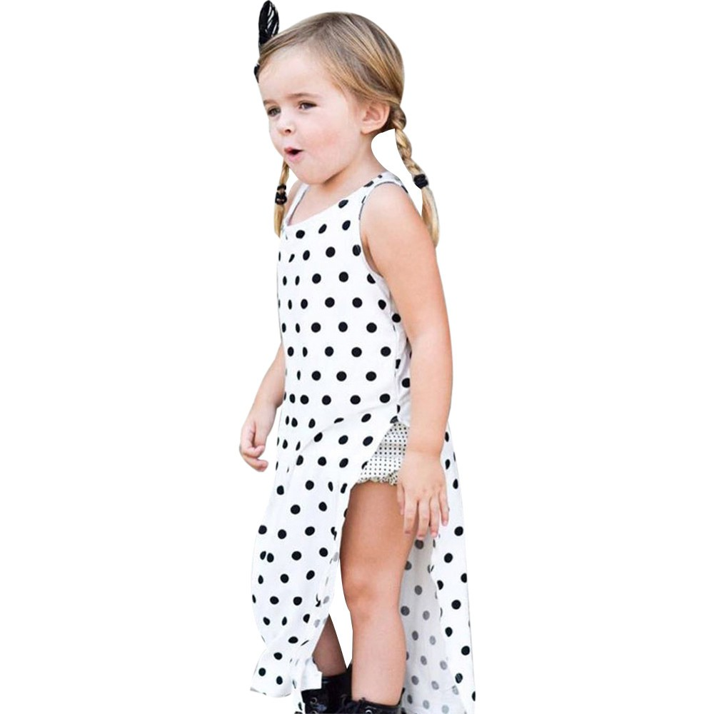 Toddler Fashion Baby Girls Dot High Slits Beach Dress Sundress Outfits Clothes