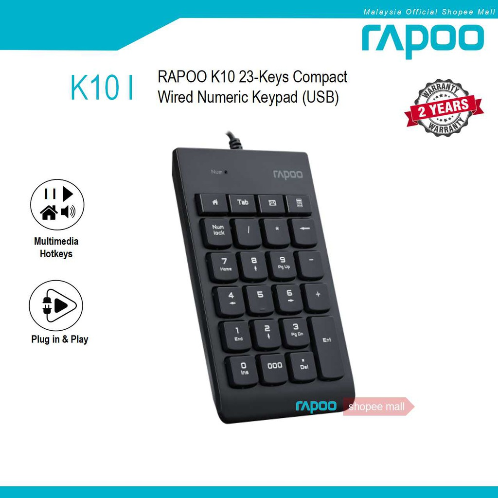 RAPOO K10 23-Keys Compact Wired Numeric Keypad USB Number Pad for PC Laptop    Shopee Malaysia
