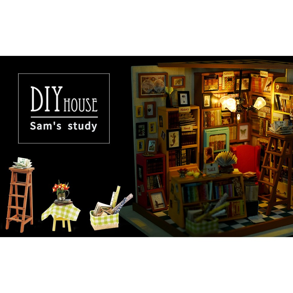 Creative Dollhouse DIY Kit Miniature Library House Kits kids Gifts