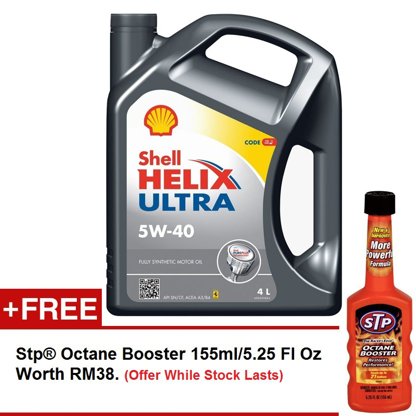 Shell Helix Ultra Fully Synthetic 5W-40 4L FREE STP Octane Booster 155ml