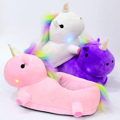 2bf111a133c98 Womens Girls Novelty 3D Character LED Light Up Plush Unicorn Slippers Mens  Shoes