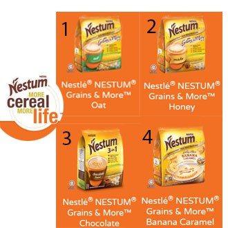Nestle Nestum Grains & More 3 in 1 (15pcs)  Original, Chocolate, Honey , Oat