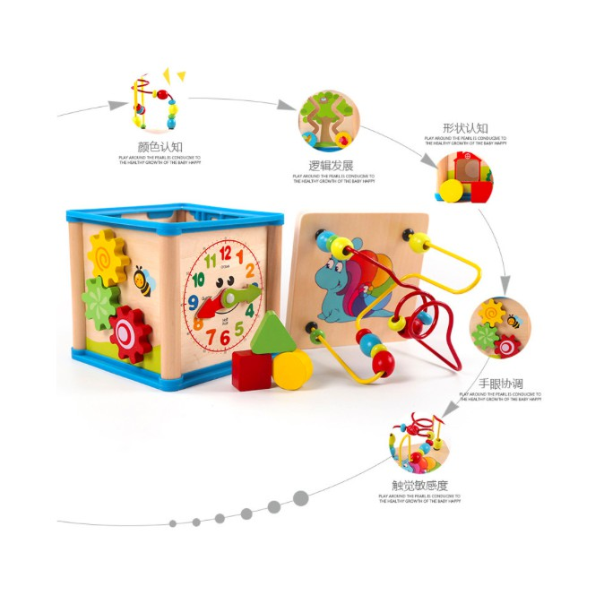 5 sided learning cube + Clock +  Bead + Shape + roller + maze