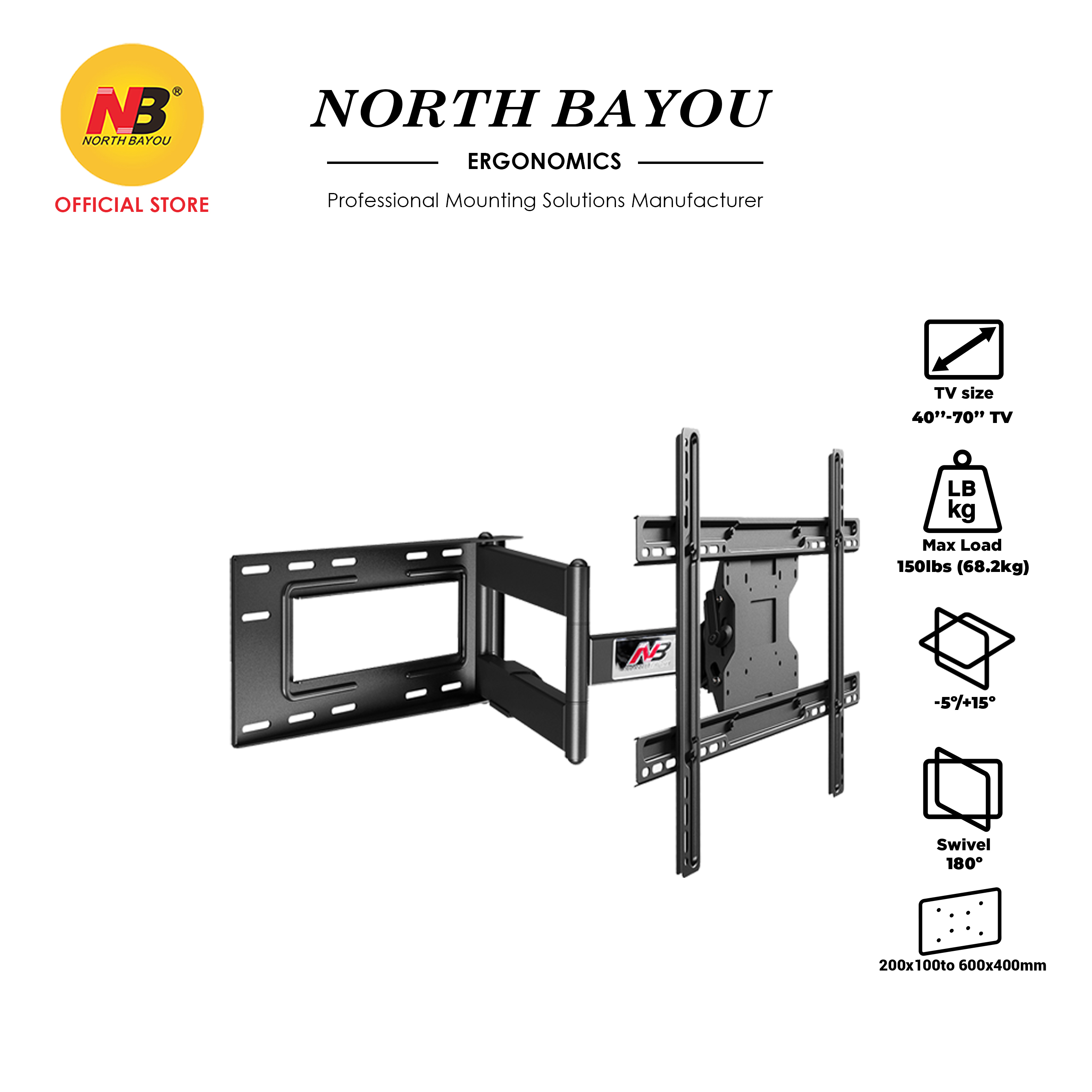 """NB North Bayou NBSP2 TV 180 Rotation Cantilever Mount Fit 40"""" To 70"""" LCD LED Flat Panel TV Screens"""
