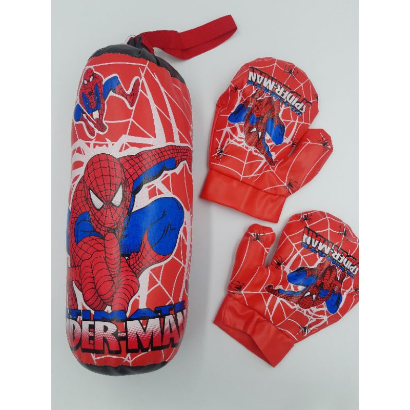 Spiderman Boxing Punching Bag And Boxing Gloves Kids Boxing Toy mainan.