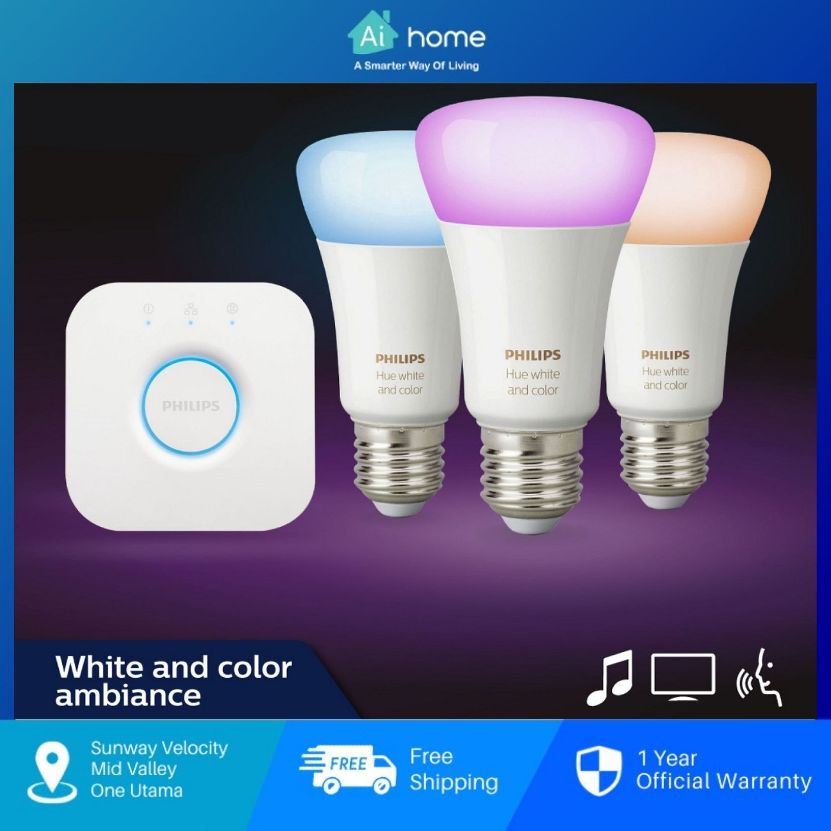 PHILIPS HUE Starter Kit (Light Bulb x3 + Bridge x1) (Support Apple Home Kit) with 2 Year Malaysia Warranty [ Ai Home ]