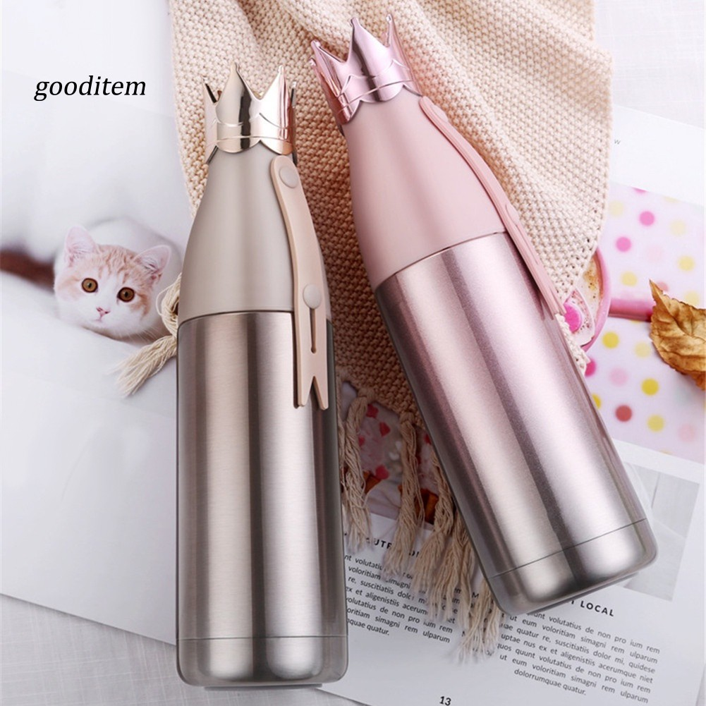 GOTM_Creative Crown Design Insulation Vacuum Cup Travel Outdoor Mug Water Bottle