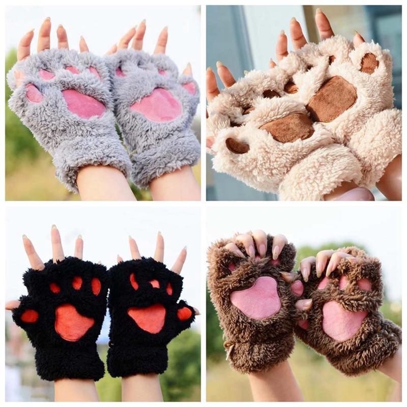 Womens Cat Claw Paw Mitten Plush Glove Costume Gift Winter Half Finger