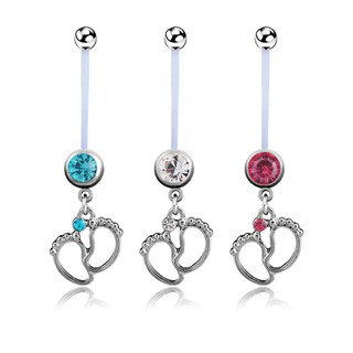 Flexible Pregnancy Maternity Baby Feet Boy Girl Belly Bar Navel Ring