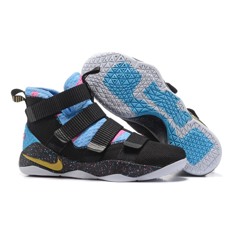 competitive price 60d5a a5adc 2018 Nike LeBron Soldier 11 Black Sky Blue Multi-Color