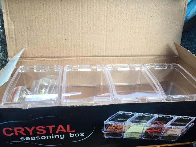 4pcs Transparent Seasoning Salt Jar Storage Box Kitchen