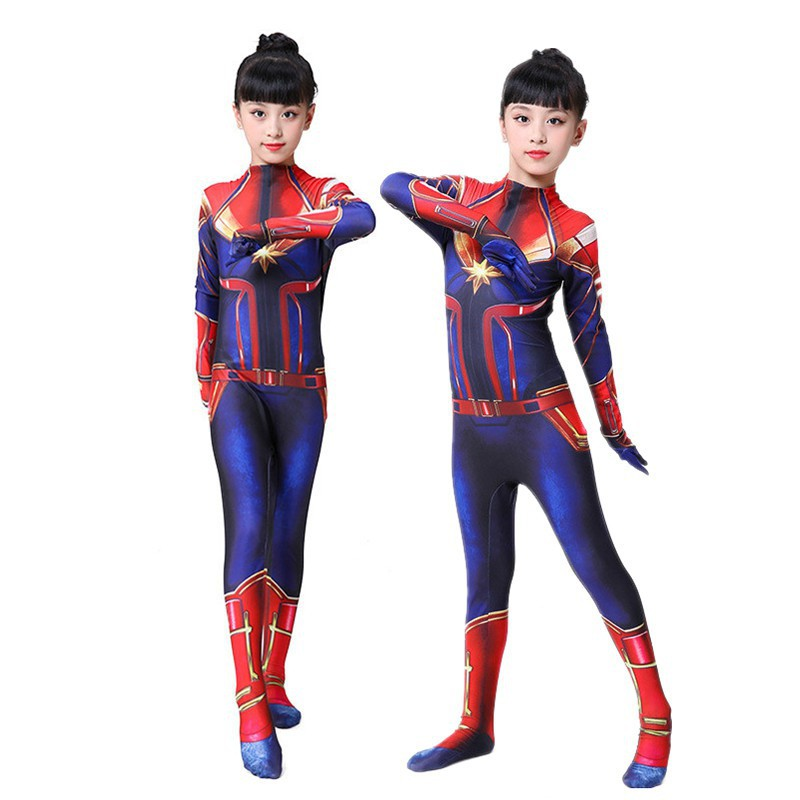 Kids Captain Marvel Costume 3d Print Bodysuit Women S Zentai Superhero Jumpsuit Shopee Malaysia Long sleeve printed red, gold and blue stretch jumpsuit; kids captain marvel costume 3d print bodysuit women s zentai superhero jumpsuit