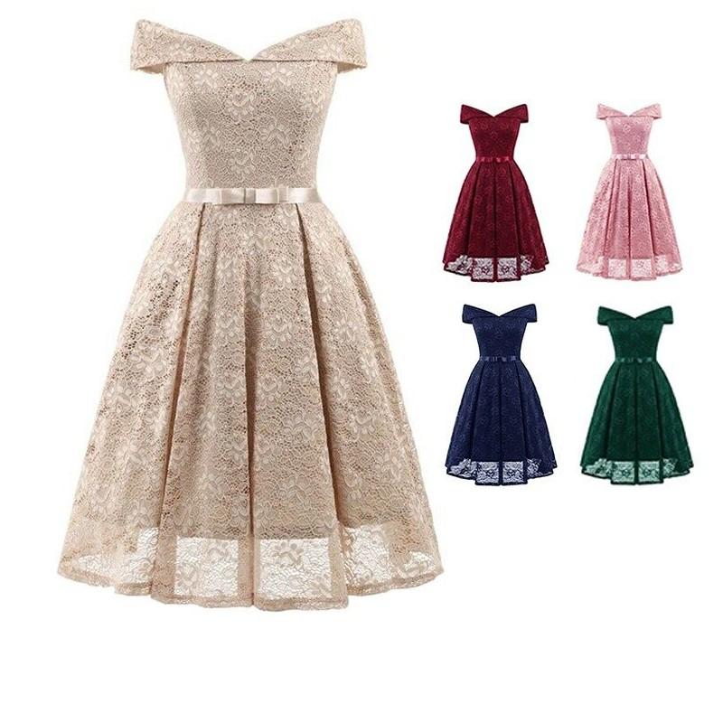 efc47112ad Summer Off Shoulder Dress Vintage Evening Women Dress A-Line Midi Dinner  Dress
