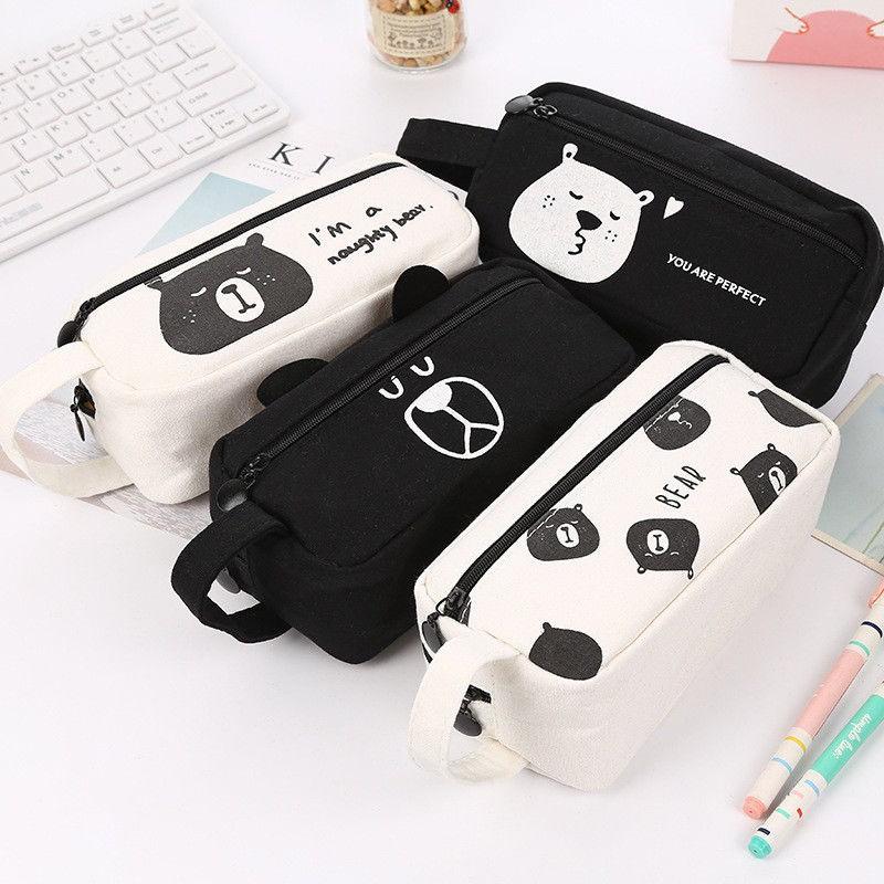 955c9972f077 Cosmetic Bag Makeup Box Pencil Case Canvas black white Bear