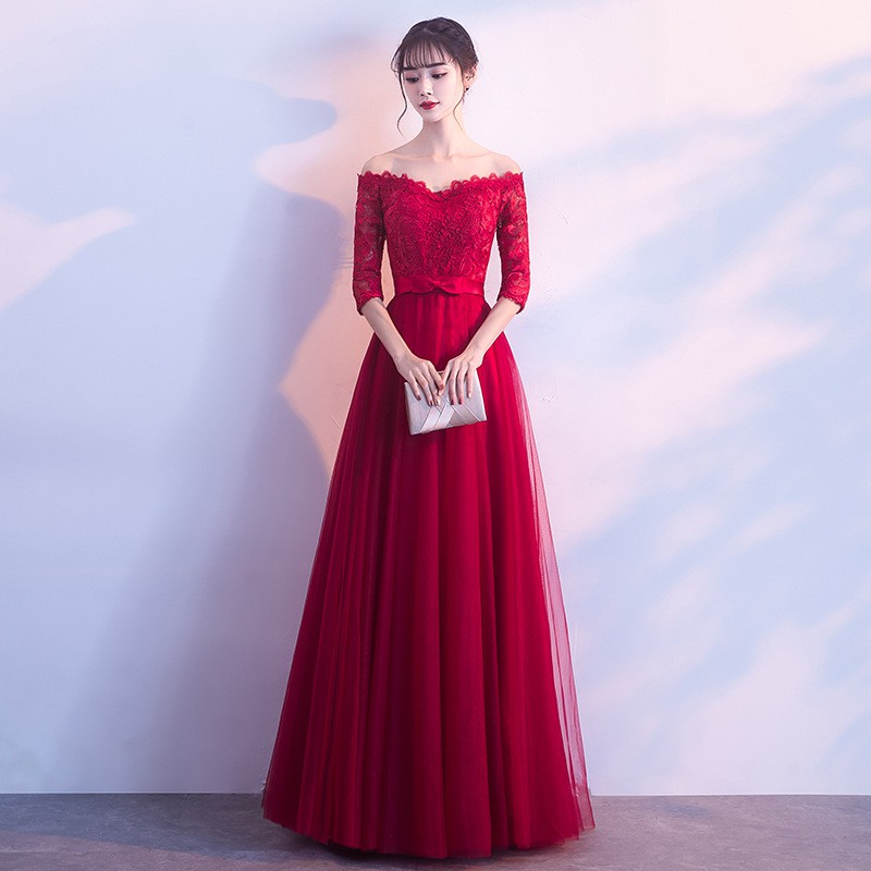 07647c75f Pregnant women toast clothing bride 2018 new autumn and winter long Chinese  style high waist red wedding evening dress s | Shopee Malaysia