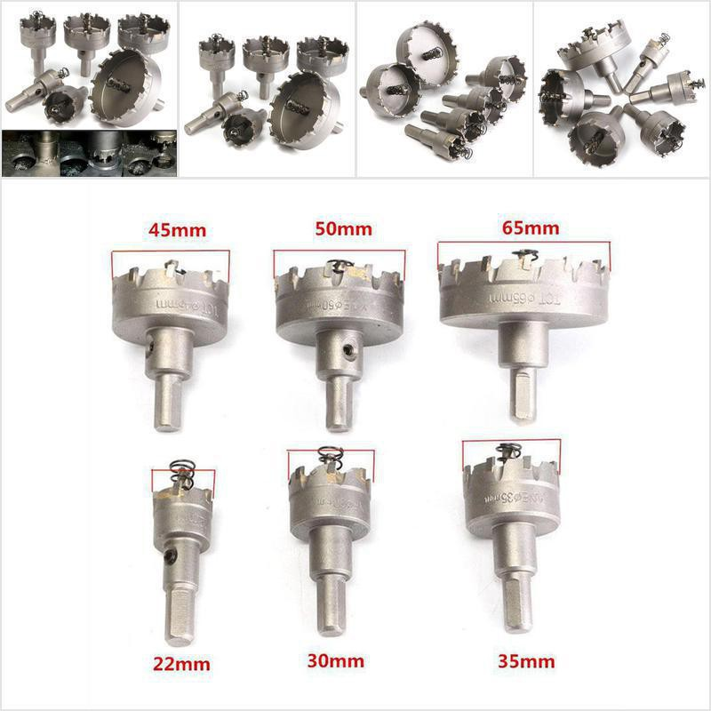 Hole Saw Drill Bit Carbide Tip TCT Opener 6pcs 22-65mm Stainless Steel Alloy Hot
