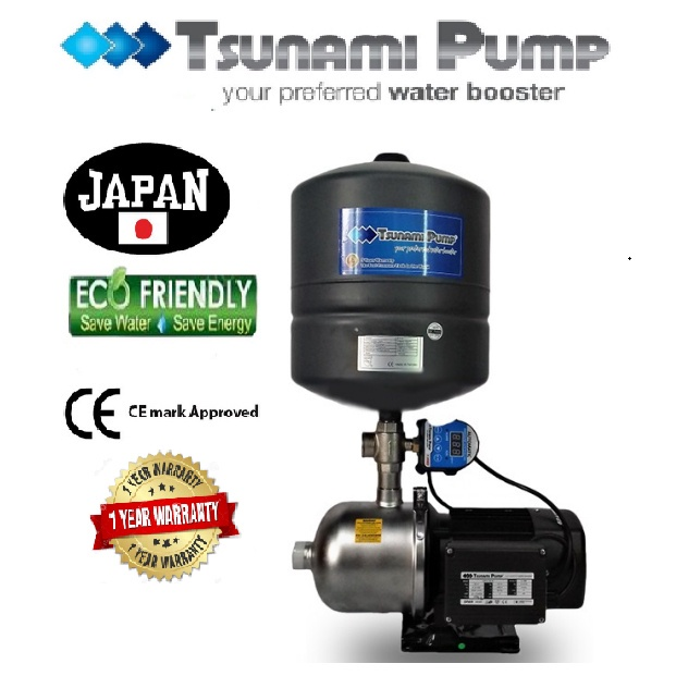 Tsunami CMF2-40-IPT Food Grade Stainless Steel Casing Home Auto Booster Pressure Water Pump【1 Year Warranty】