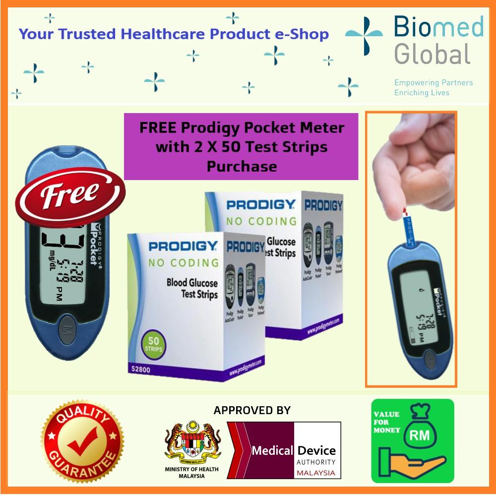Free Blood Glucose Meter >> Prodigy Blood Glucose Test Strips 2x 50 Strips Vial Free Blood Glucose Meter