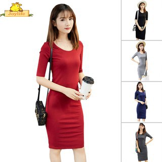 6254f235a887 Women New Casual Fashion Sexy Round Neck Solid Color Slim Fit Bodycon Dress