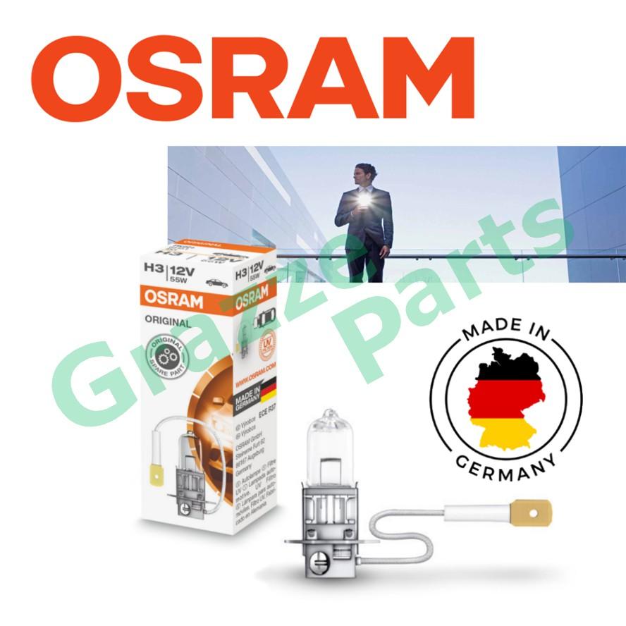 Original Osram H3 12V 60/55W PK22S HALOGEN BULB (64151) - Made In Germany