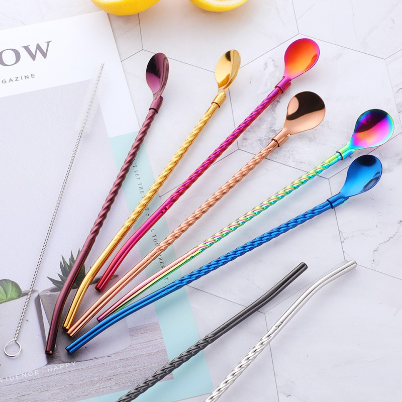Stainless Steel Straw Scoop Spoon Coffee Stirring Spoon Straw Home Party Supply