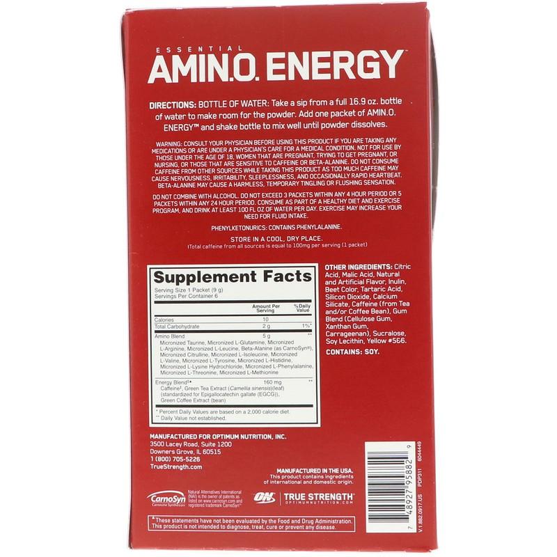 6 Stick Packets, 9 g Each Optimum Nutrition, Essential Amin
