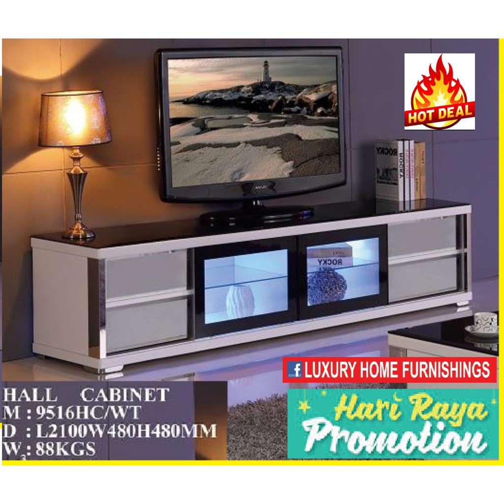 7ft High Gloss & Term-pared GLASS TOP Modern TV CABINET, white COLOR, IMPORTED Series!! RM 2,349!! 35% Off!