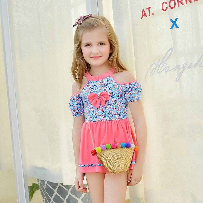 d37340a281546 Spot Girls Korean conjoined triangle children's swimwear skirt swimming