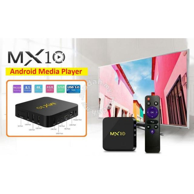 MX10 Android 8 1 4GB 32GB RK3328 Quad Core 64bit 4K (Preinstalled