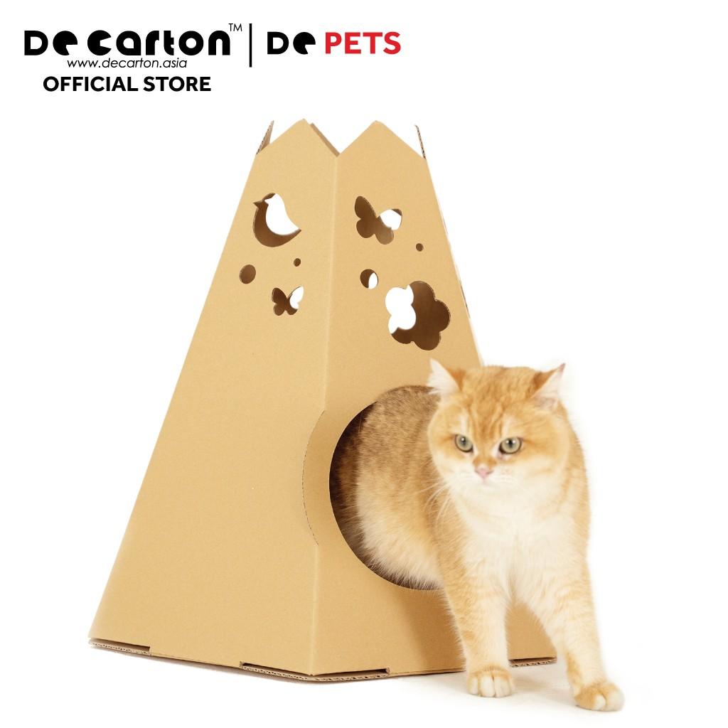 De Carton Cardboard Dream Garden Cat Teepee (Teepee Kucing)