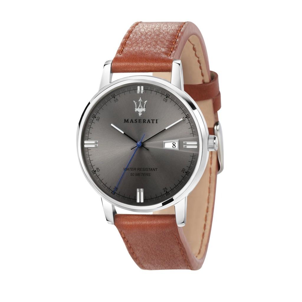 Maserati Eleganza Leather Quartz Watch - Brown (42mm) R8851130002