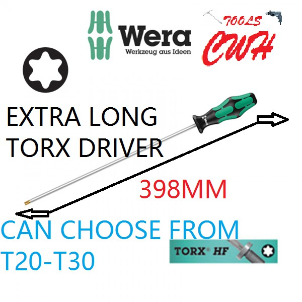 T20-T30 RANGE WERA GERMANY 367 LONG TORX SCREWHOLDING SCREWDRIVER CWH TOOLS BLACK HARDWARE BLACKHOME