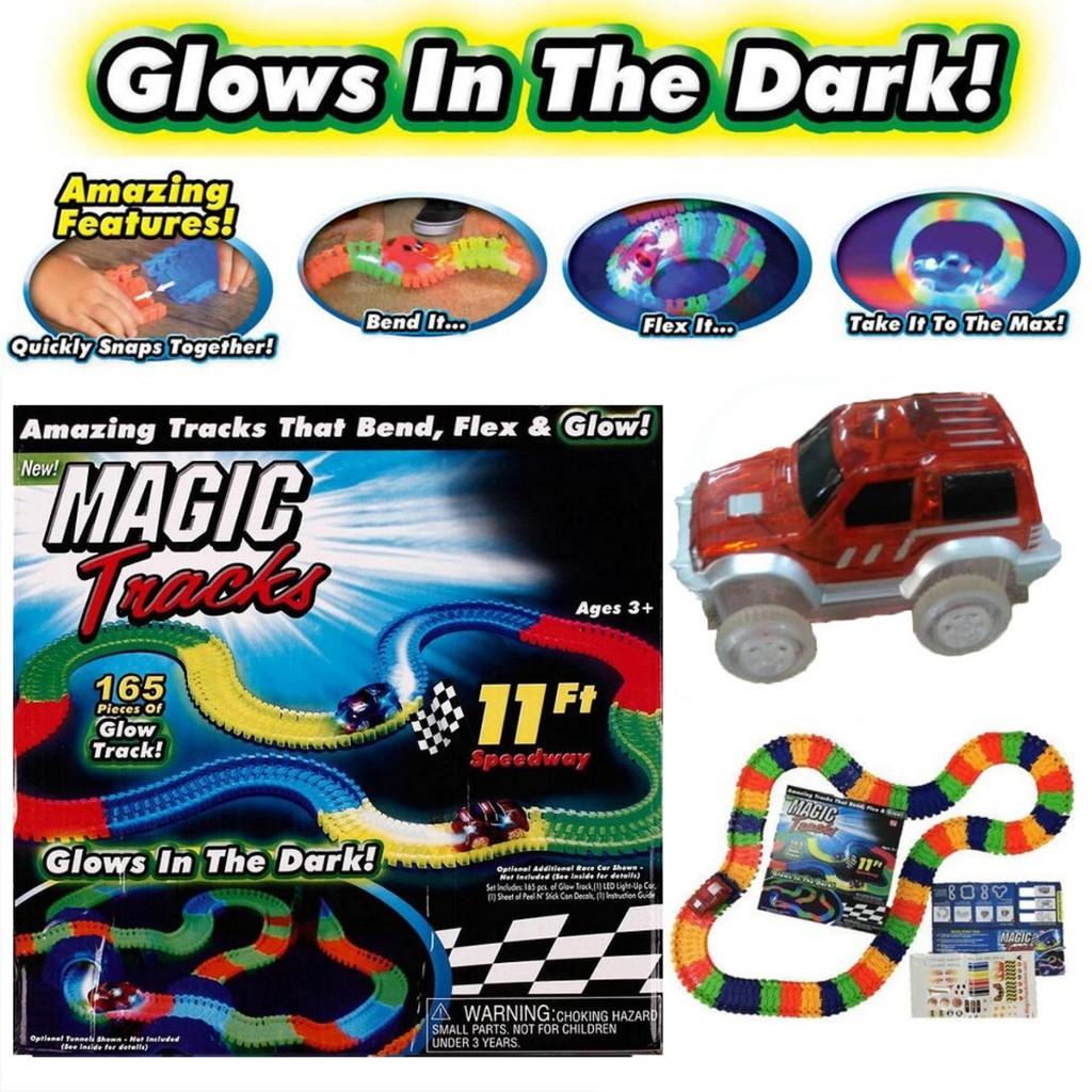 Autos MAGIC TRACKS 360PCS Rennbahn leuchtet im Dunkeln RACE CAR Bend Flex Racetrack