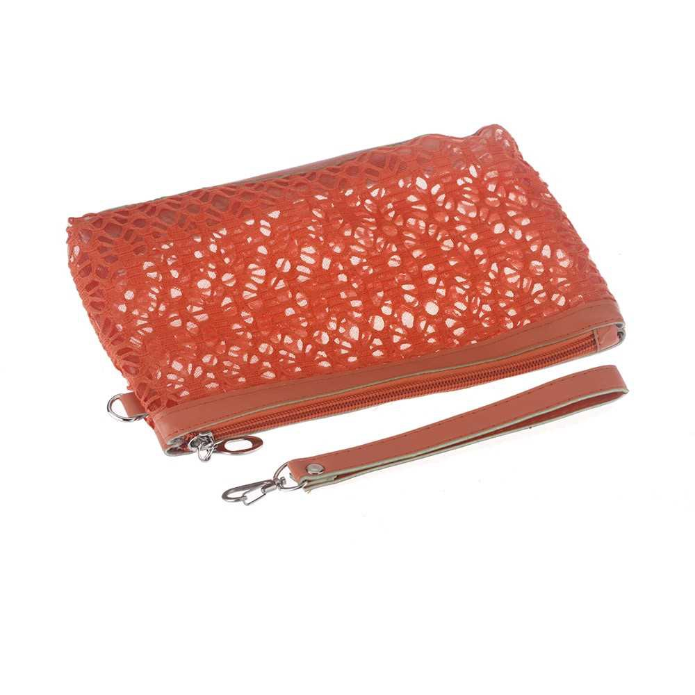 Cosmetic Hollow Make Up Container Pouch Handbag Sunbag Orange (C)