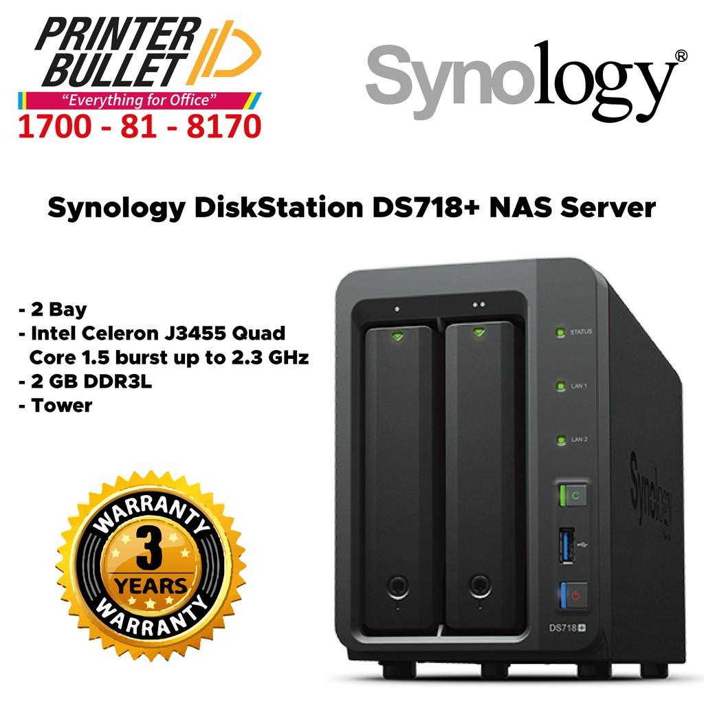 Synology DiskStation DS718+ NAS Server (2 Bay, 2 GB DDR3L, Tower)