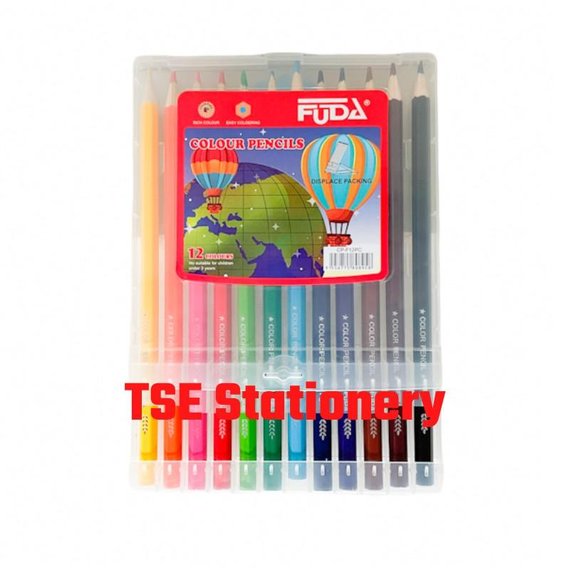 Fuda CP-F12PC 12 Colour Long / Color Pencil Long Pensel Warna Panjang Plastic Box with Display Packing