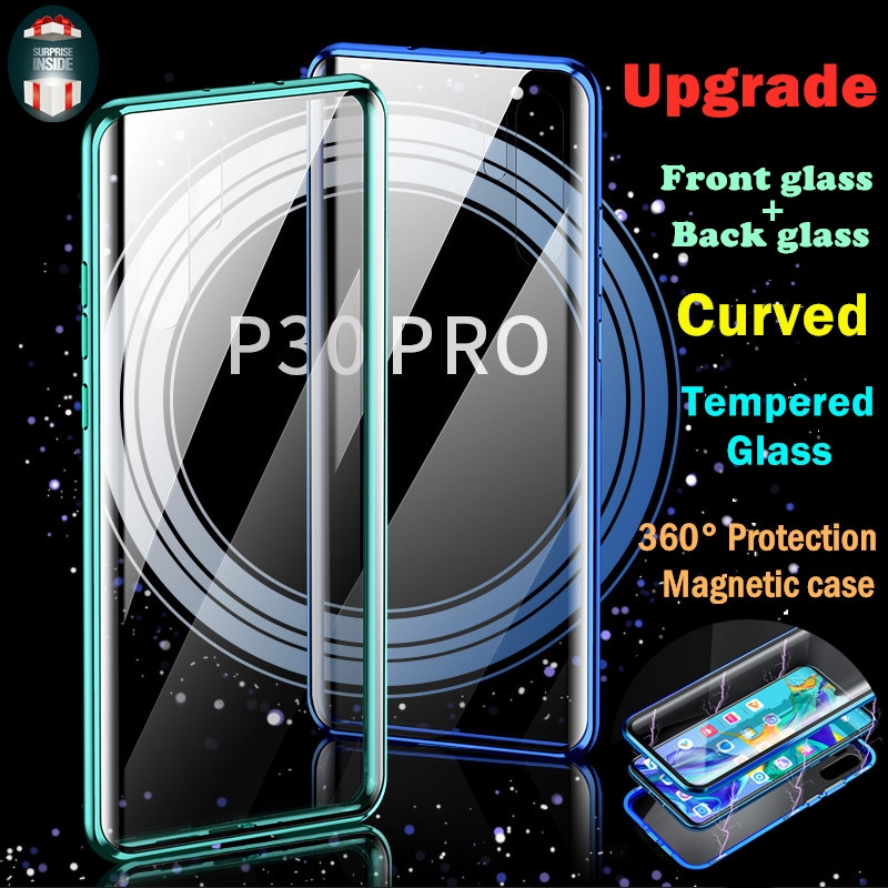 Case Huawei P30 Pro Mate20 Pro Front+Back Curved Tempered Glass Phone Case  Magnetic 360 Degree Full Protective Flip Case